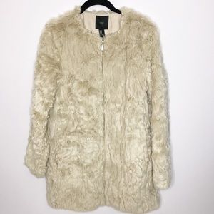 Forever 21 Faux Fur Zip Coat M